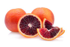 Blood red oranges. Isolated on white background Royalty Free Stock Photo