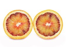 Blood red oranges isolated on white background Royalty Free Stock Image