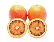 Blood red oranges isolated on white background Stock Photos
