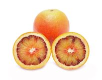 Blood red oranges  on white background Stock Image