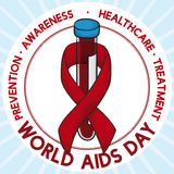 Blood Sample with Ribbon around it Commemorating World AIDS Day, Vector Illustration. Poster with blood sample showing the importance of preventive analysis in Stock Photography