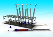 Blood sample tubes. Tubes for blood samples with cannula Vector Illustration