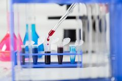 Blood samples for research in microtubes Stock Image