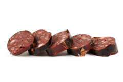 Blood sausage cut into slices Stock Image