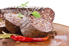 Blood sausage with spice Royalty Free Stock Images