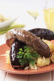 Blood sausage and white pudding Stock Images