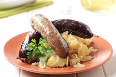Blood sausage and white pudding Royalty Free Stock Photography