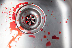 Blood in the sink Royalty Free Stock Images