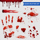 Blood Spatters Realistic Samples Transparent Set Stock Photos