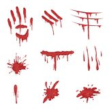 Blood spatters set, red palm prints, finger smears and stains vector Illustrations on a white background. Blood spatters set, red palm prints, finger smears and Royalty Free Stock Image