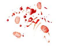 Free Blood Splashes With Fingerprints On White Background Stock Image - 151282351