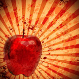 Blood splat background with apple Royalty Free Stock Image
