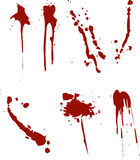 Blood splats. 7 different blood splat type illustrations Royalty Free Stock Image