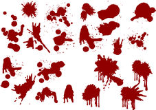 Blood splats. Lots of different blood splat type illustrations Stock Image