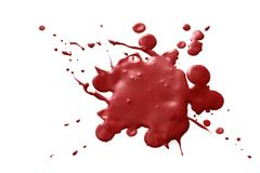 Blood splatter. Dark red splatter of blood isolated on white background royalty free stock photography