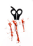Blood splatter and scissors. Book cover concept, red blood splatter and scissors Royalty Free Stock Photo