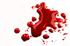 Blood splatter. Blood stains (puddle, pool, splatter) isolated on white background close up, horizontal stock images