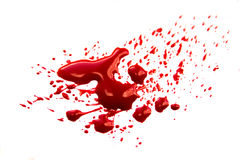 Blood splatter. Blood stains (puddle, pool, splatter, smear) isolated on white background close up, horizontal stock images