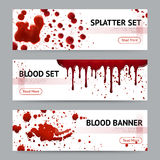 Blood Splatters Horizontal Banners Set Royalty Free Stock Images