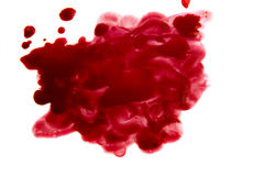 Blood stain. Blood pool (puddle) isolated on white background Stock Photography