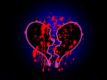 Blood Stained Broken Heart. A broken heart that is stained with blood Royalty Free Stock Photography