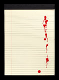 Blood Stained Notepad I. A sheet of lined yellow notepad paper with red blood stains (paint) on it Royalty Free Stock Photography