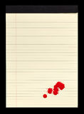 Blood Stained Notepad II. A sheet of lined yellow notepad paper with red blood stains (paint) on it Royalty Free Stock Photo