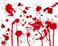 Blood stains. A mix of blood or paint stains on white background Stock Image