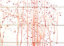 Blood with streaks on bathroom tiles Stock Image