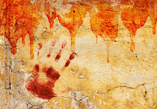 Blood on stucco wall Royalty Free Stock Photos
