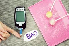 Blood sugar measurement, Diabetic kit, Blood glucose test. Blood sugar measurement, Diabetic kit, Blood glucose test, Blood glucose meter and Lollipops stock images