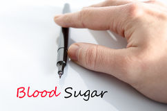 Blood sugar text concept stock images