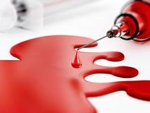 Blood and syringe. Isolated on white background Stock Photography