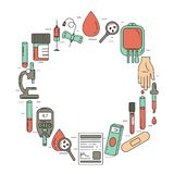 Blood test concept. Vector illustration with blood analysis items royalty free illustration