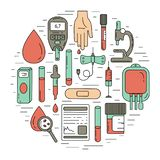 Blood test concept. Vector illustration with blood analysis items stock illustration
