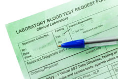 Blood Test Form Stock Photography