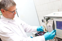 Blood test machine. Special blood test machine at a medical laboratory Stock Photography