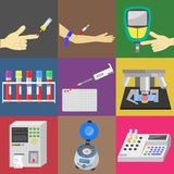 Blood test. With blood sampling and medical equipment. Color  icons set Stock Photography