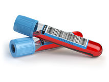 Blood test tubes. Blood samples   on white. Stock Photography