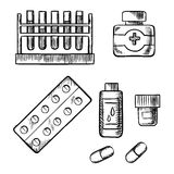 Blood test tubes,  bottles and pills sketch Stock Photo