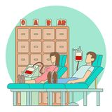 Blood transfusion in hospital concept, flat style Stock Photography
