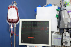 Blood transfusion, monitor of vital signs stock photo
