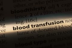 Blood transfusion. Word in a dictionary.  concept Stock Photo