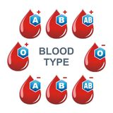 Blood Type illustration and template vector. A blood A, B, AB and O, with +, − type is a classification of blood based on the presence and absence of vector illustration