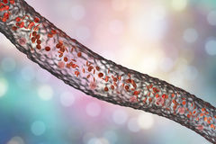 Blood vessel with flowing blood cells. Side view, 3D illustration Stock Images