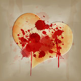 Blood on vintage heart Stock Photos
