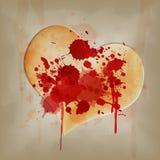 Blood on vintage heart Stock Photos