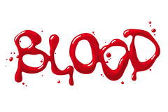 Blood word. Red blood inscription and bloody drops stock illustration