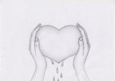 Blooded heart hand drawn sketch. With white background Royalty Free Stock Images