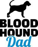 Bloodhound dad silhouette. With blue word Stock Photo